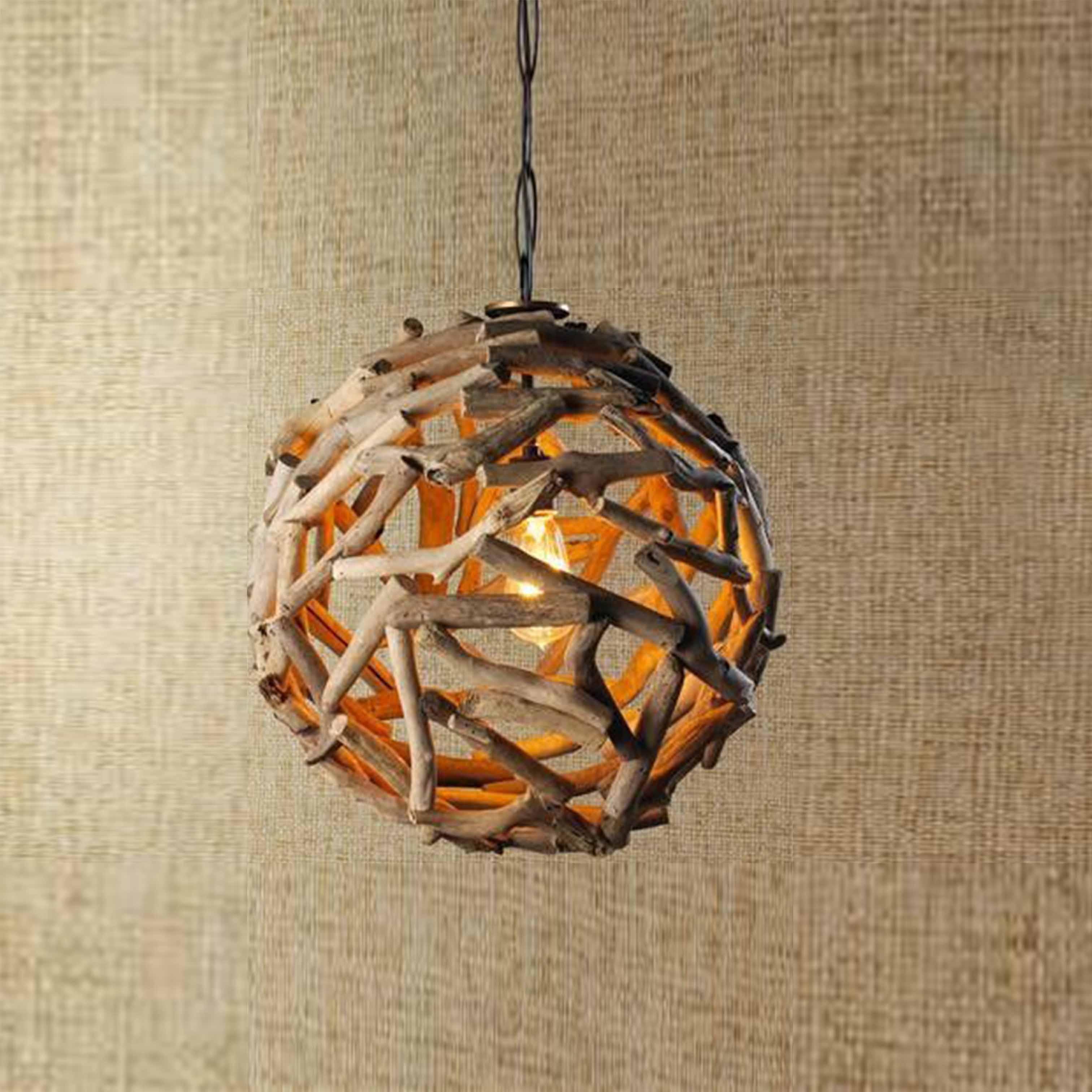 Đèn gỗ hình cầu trang trí nghệ thuật - D58LHFU